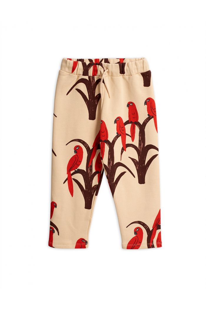 Mini Rodini Parrot all over print sweatpants Red