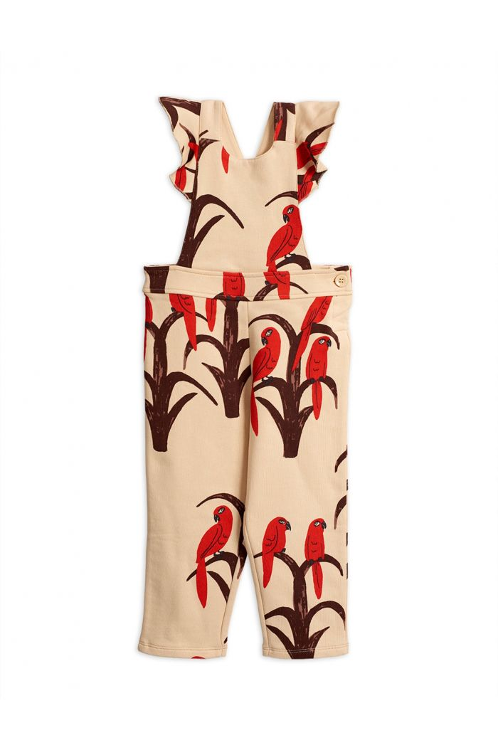 Mini Rodini Parrot all over print frill dungarees Red