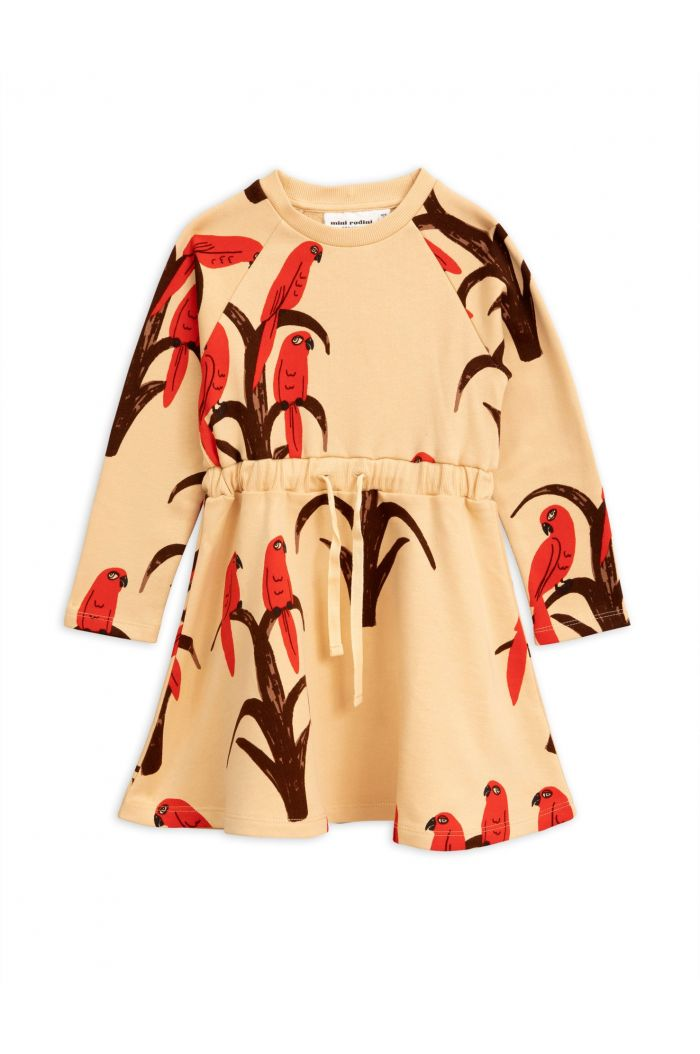 Mini Rodini Parrot all over print dress Red