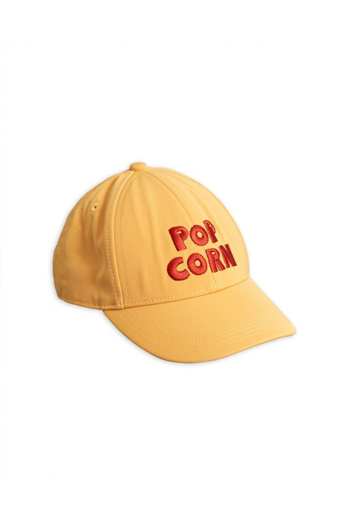 Mini Rodini Pop corn embroidery cap Yellow