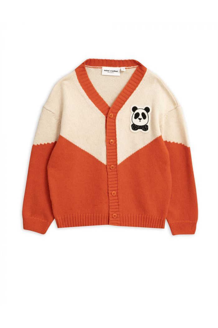Mini Rodini Panda knitted wool cardigan Red