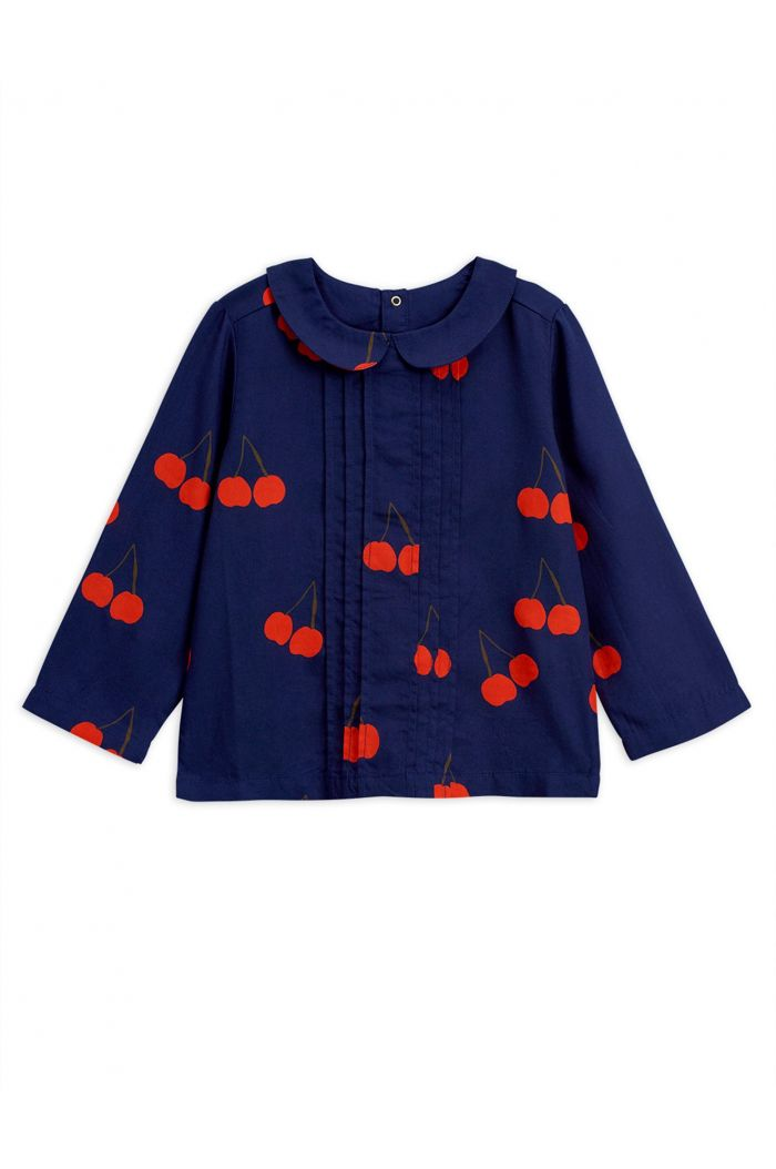 Mini Rodini Cherry woven pleat blouse Blue