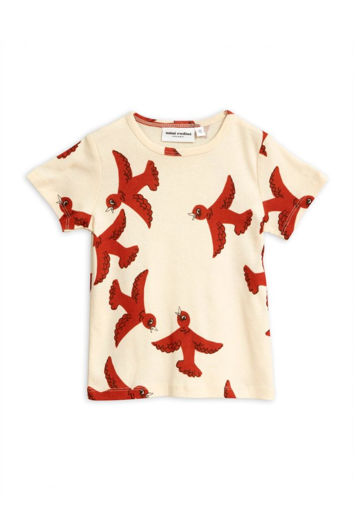 Mini Rodini Flying birds short sleeve tee Offwhite