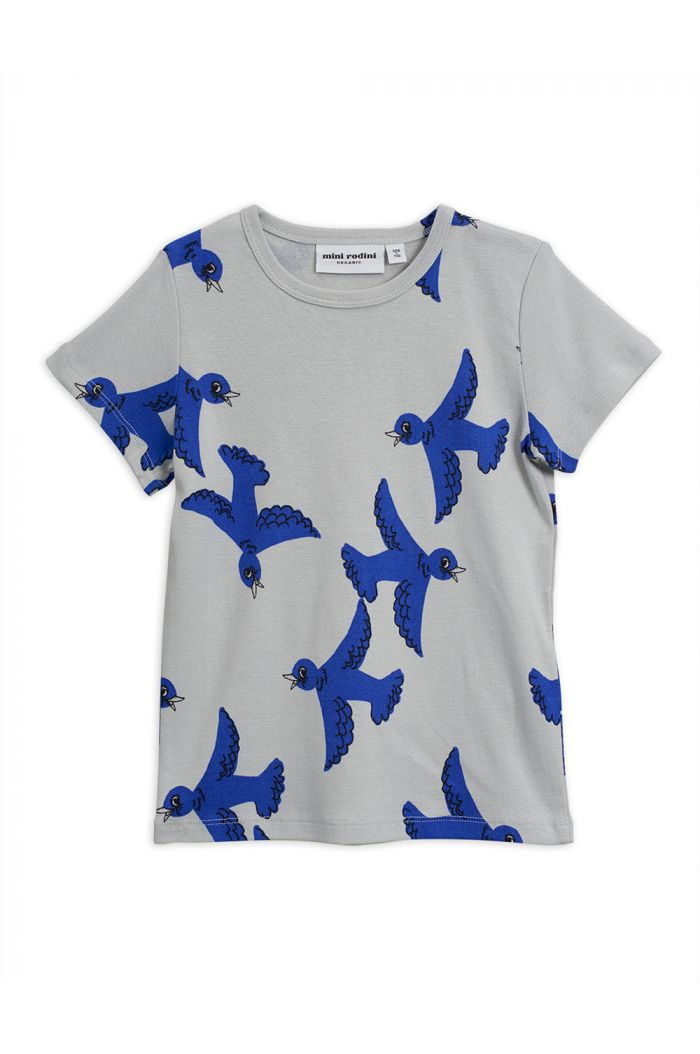 Mini Rodini Flying birds short sleeve tee Light Grey