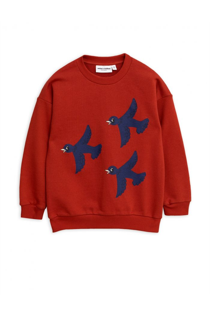 Mini Rodini Flying birds single print sweatshirt Red