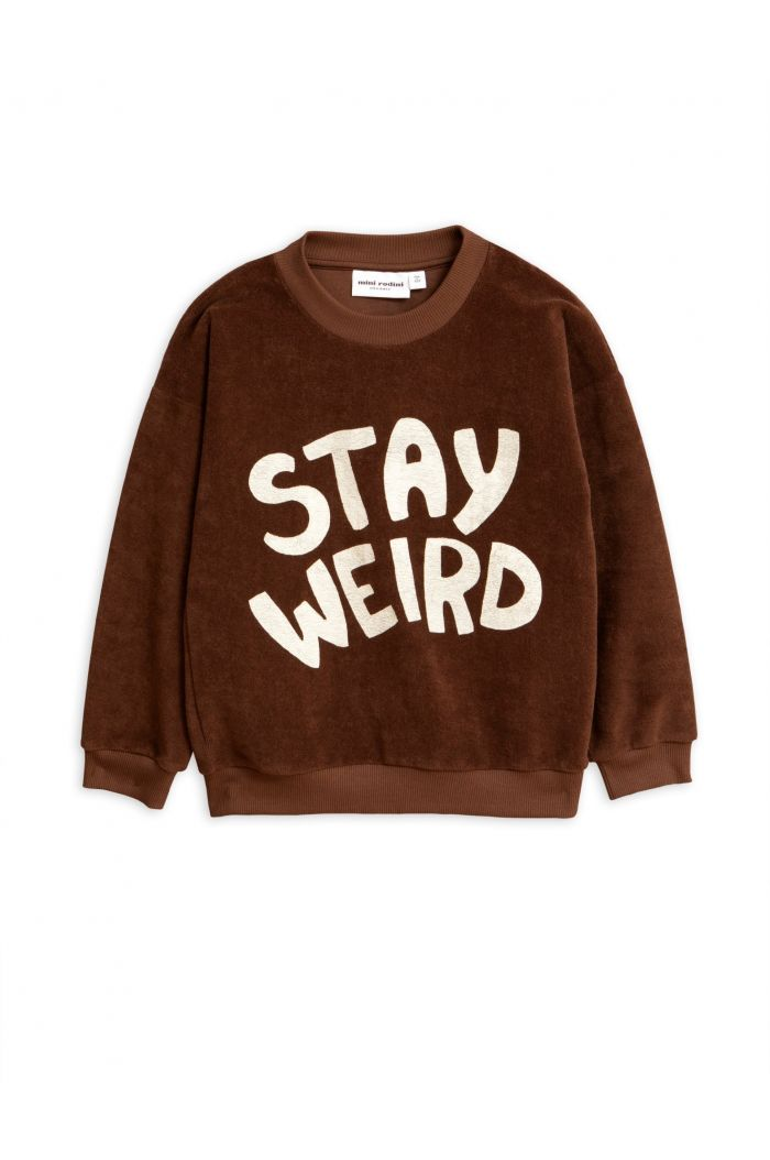 Mini Rodini Stay weird single print terry sweatshirt Brown