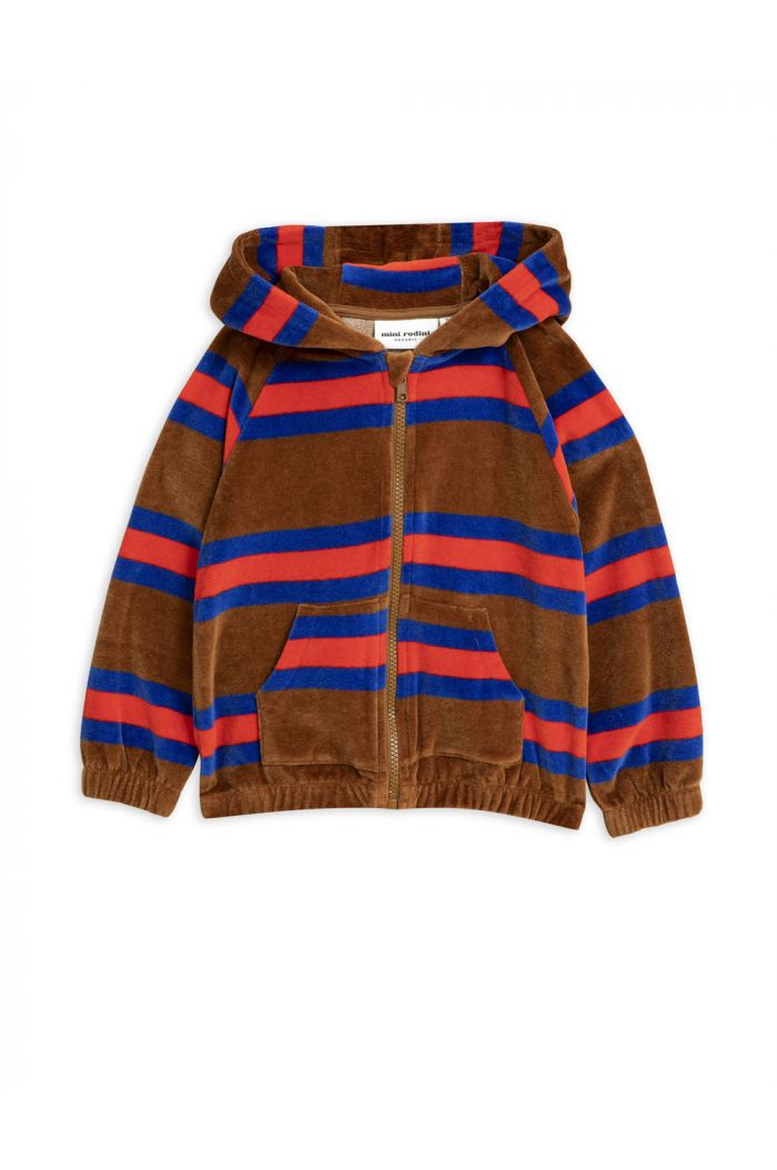Mini Rodini Velour stripe zip hoodie Brown