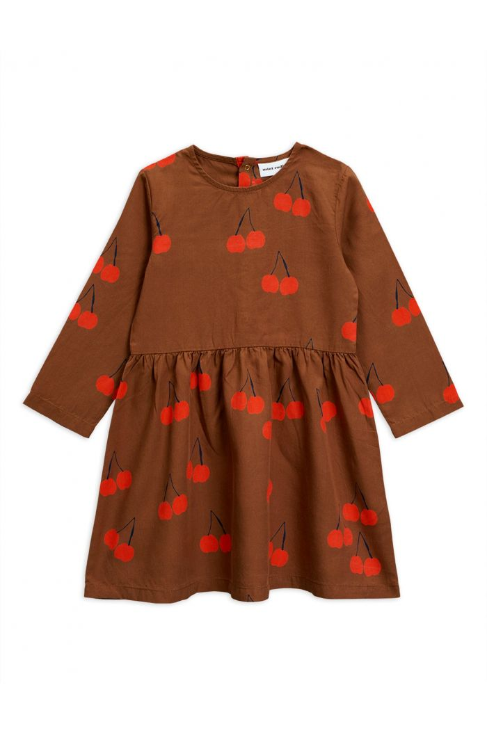 Mini Rodini Cherry woven longsleeve dress Brown