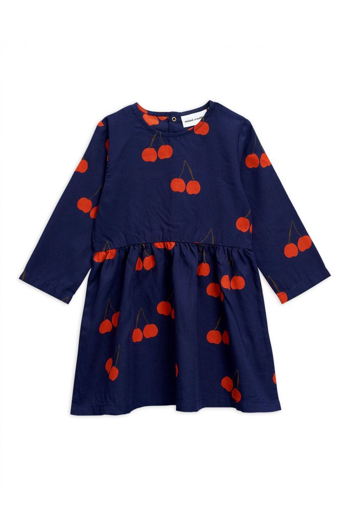 Mini Rodini Cherry woven longsleeve dress Blue