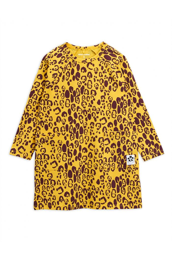 Mini Rodini Leopard longsleeve dress Yellow