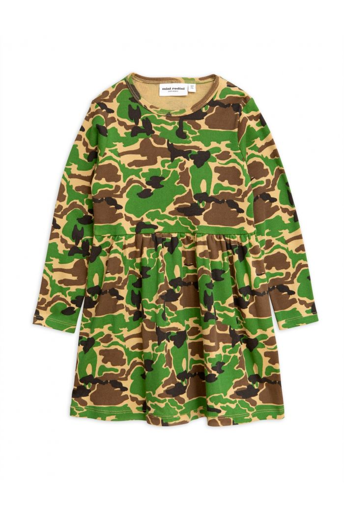 Mini Rodini Camo longsleeve dress Green