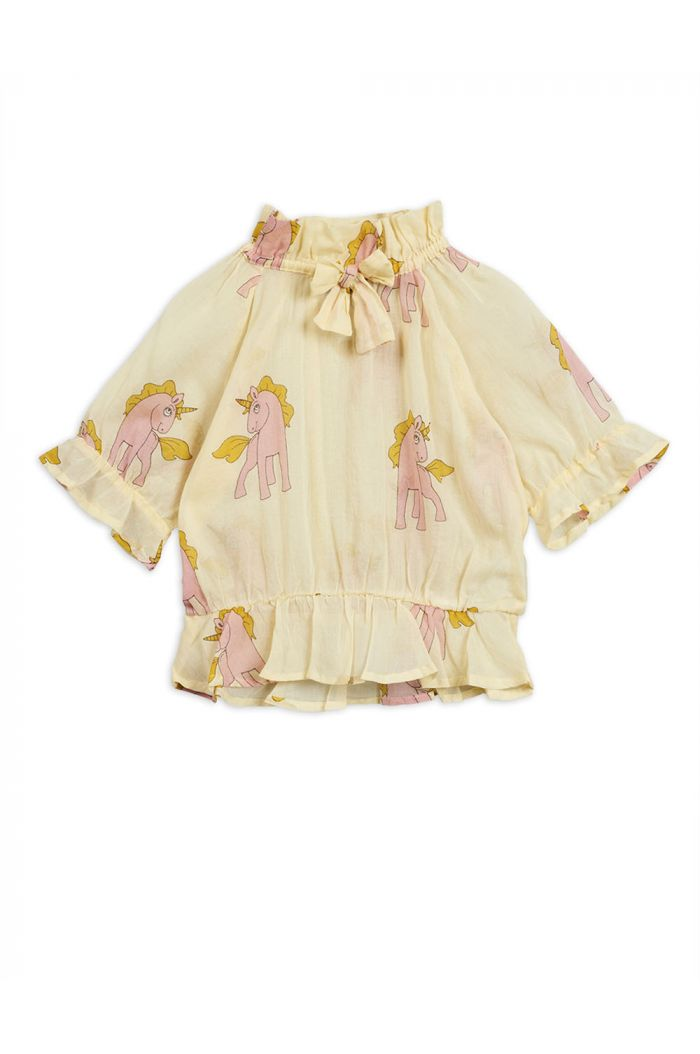 Mini Rodini Unicorns woven bow blouse Yellow