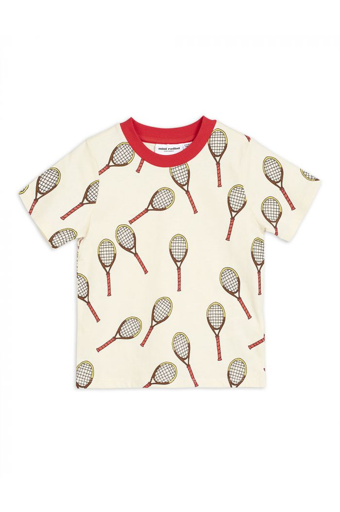 Mini Rodini Tennis all-over print shortsleeve tee Offwhite
