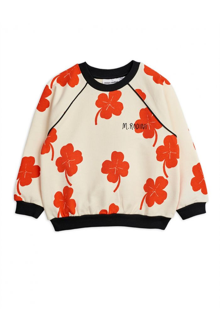 Mini Rodini Clover all-over print sweatshirt Offwhite