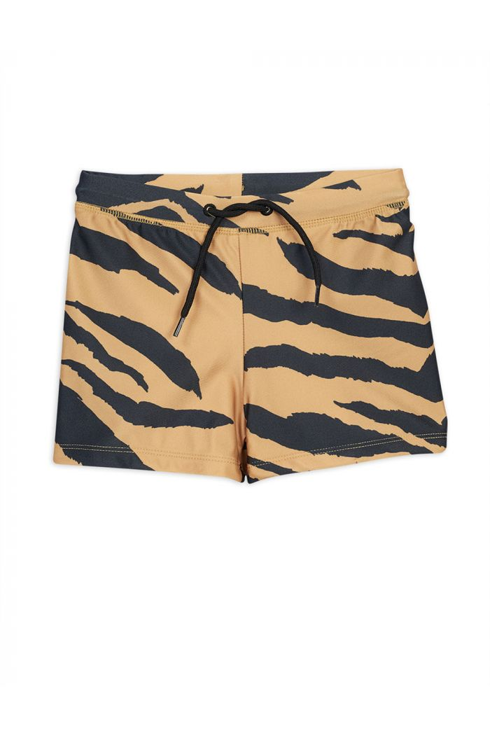 Mini Rodini Tiger all-over print swimpants Brown