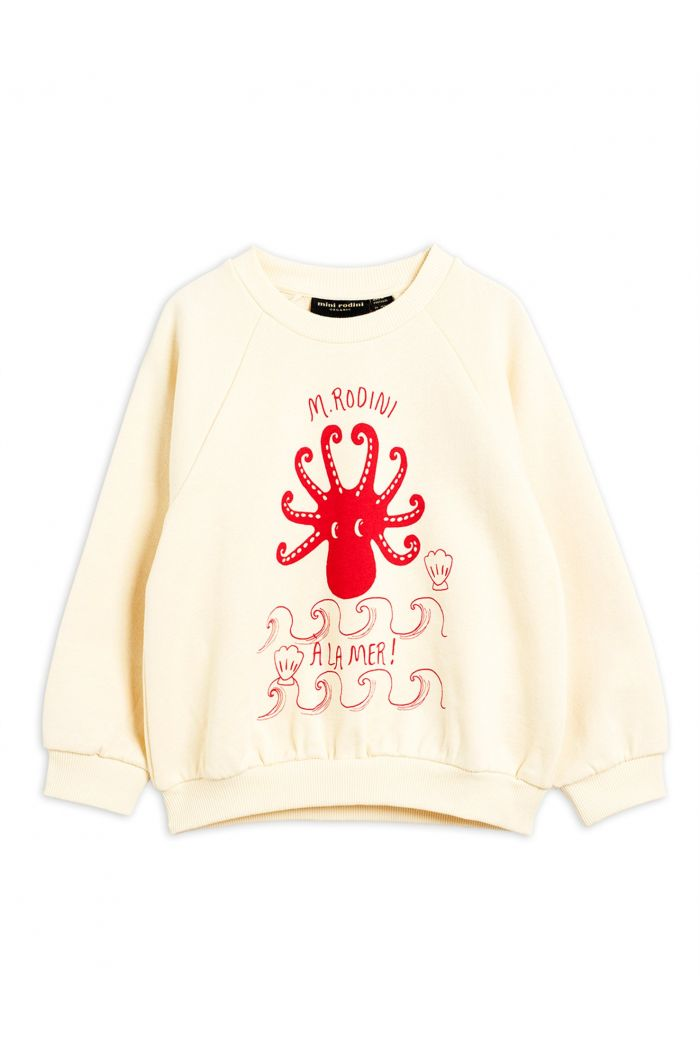 Mini Rodini Octopus single print sweatshirt Offwhite
