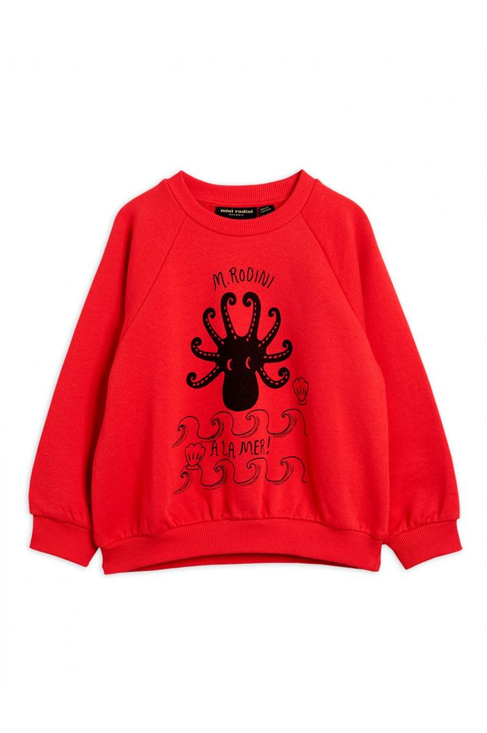 Mini Rodini Octopus single print sweatshirt Red