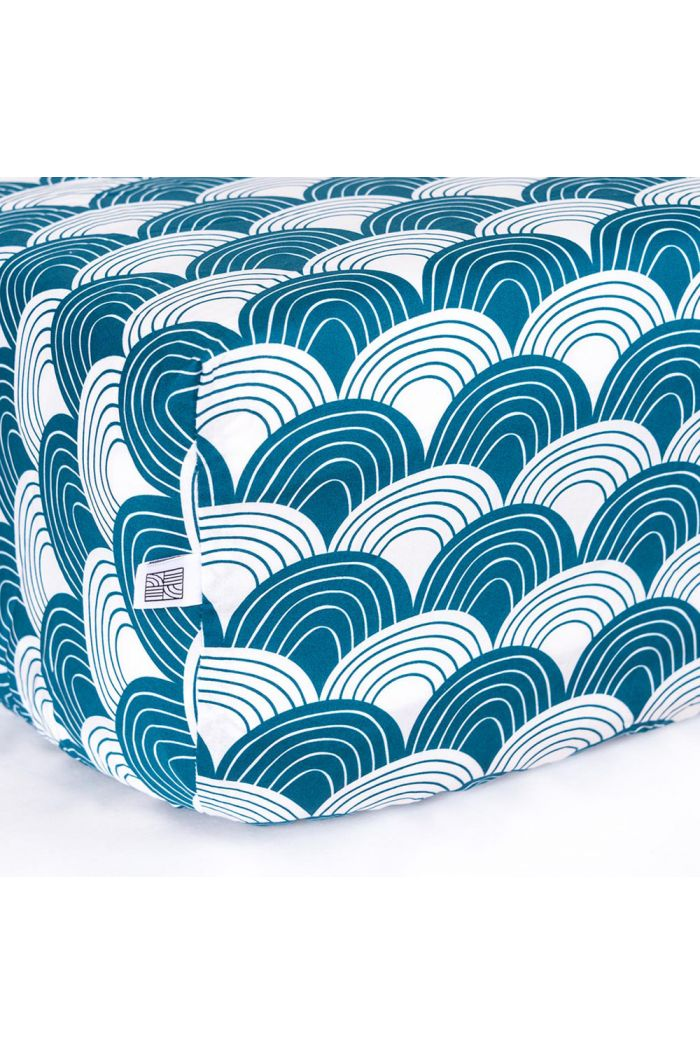 Swedish Linens Rainbows Toddler bed sheet Moroccan blue