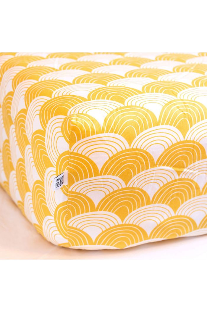 Swedish Linens Rainbows Fitted crib sheet Mustard yellow