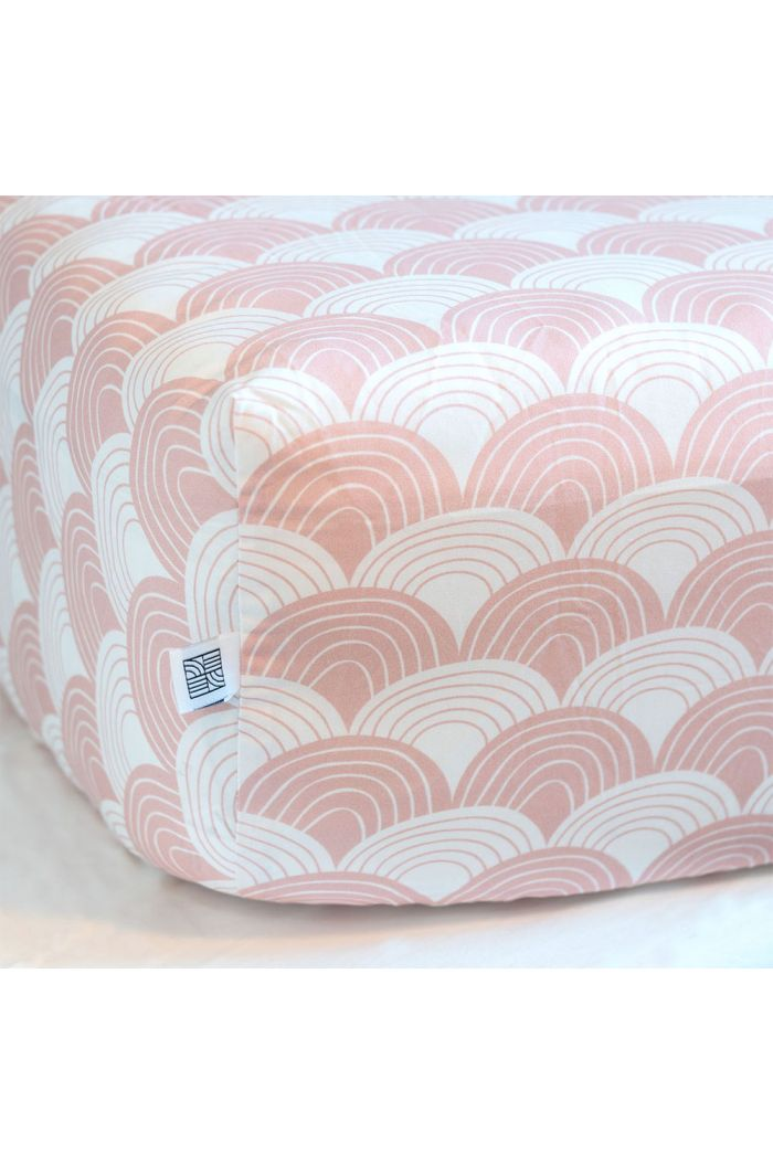 Swedish Linens Rainbows Fitted crib sheet Nudy pink