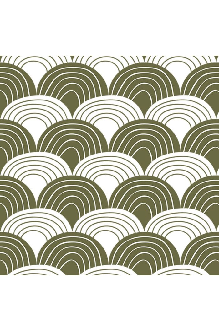 Swedish Linens Rainbows Bed Sheet Olive Green