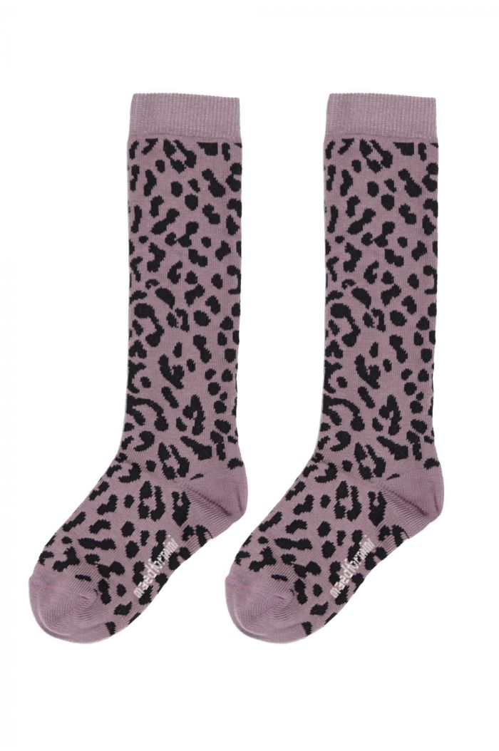 Maed for Mini Knee Socks Lilac Leopard