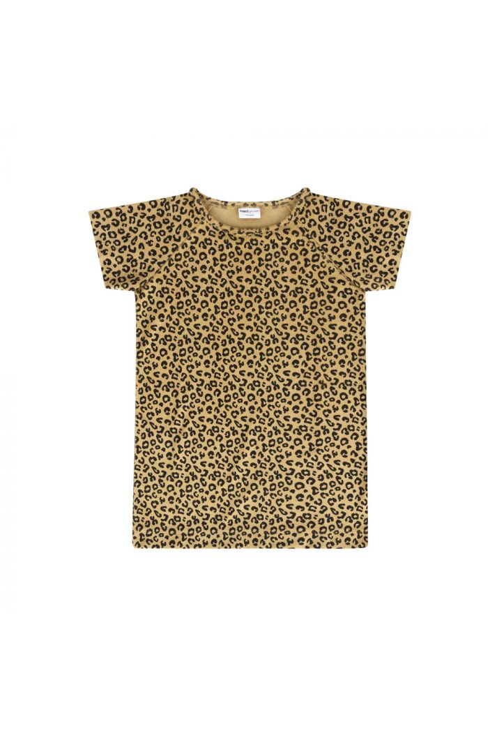 Maed for Mini Dress Short Sleeve Yellow Leopard