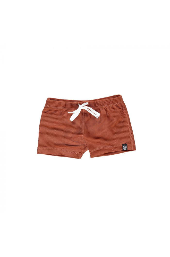 Beach & Bandits Earth Ribbed  swimshort Rust Red