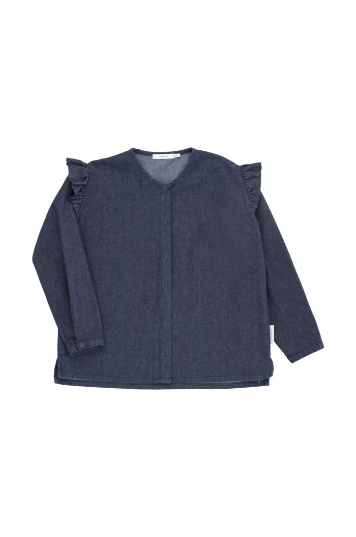 Tinycottons denim frills blouse Navy