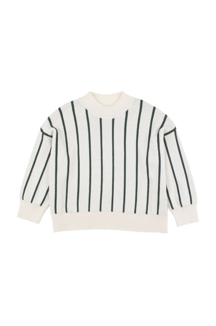 Tinycottons stripes mock sweater Beige / Dark Green