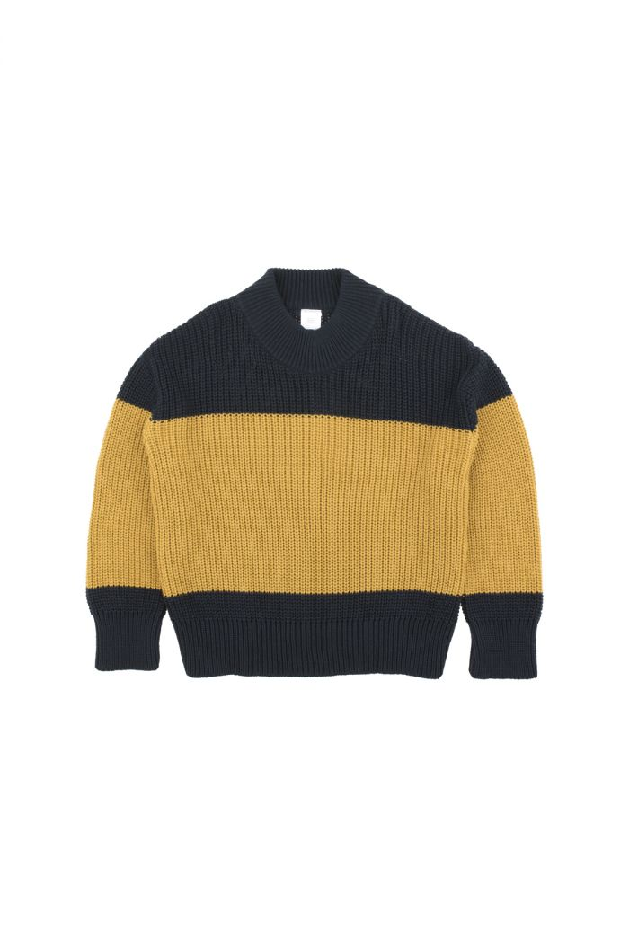 Tinycottons color-block sweater Navy / Mustard
