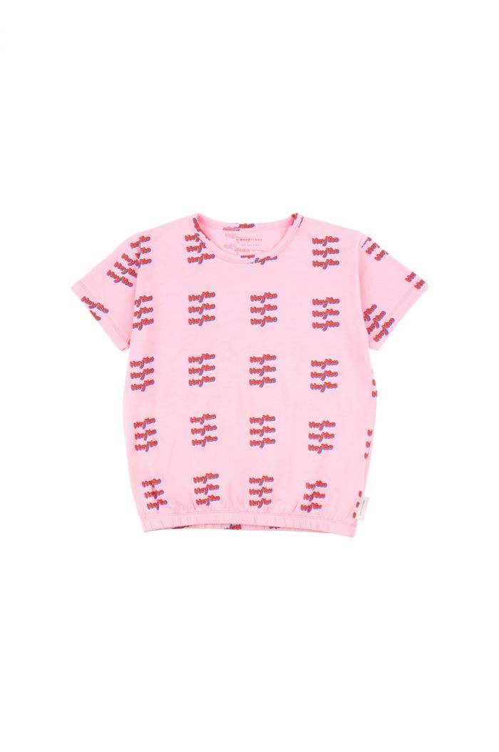 Tinycottons 'hey you' short sleeve tee all-over pink/red