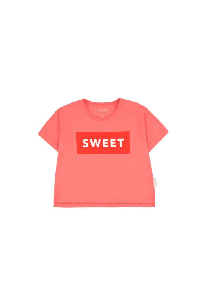 Tinycottons 'sweet' short sleeve crop tee light red/red