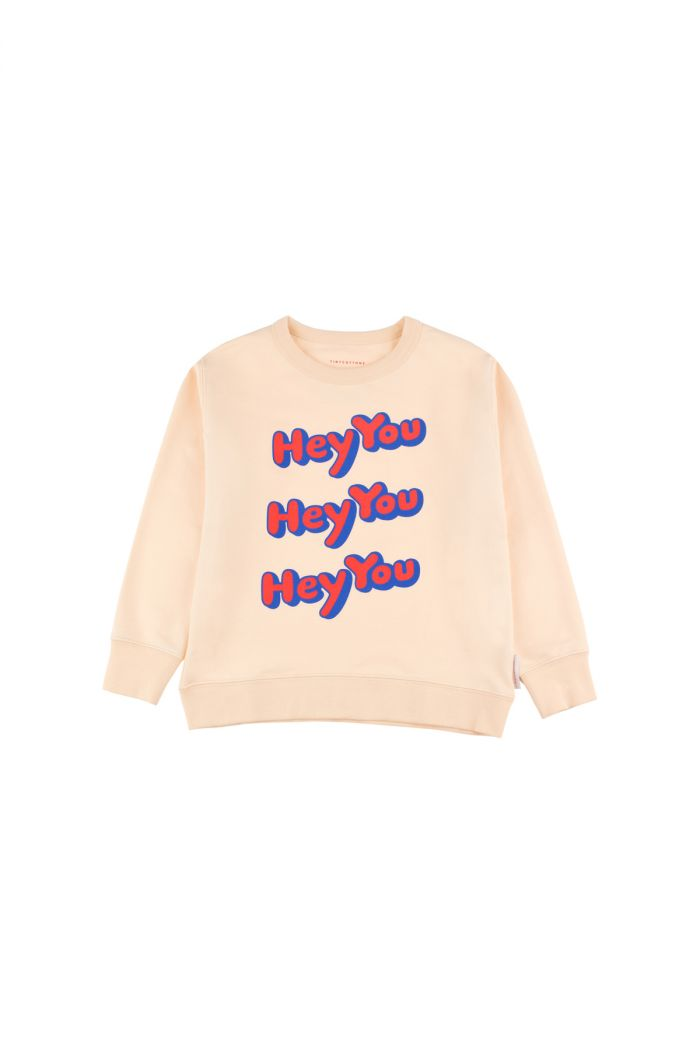 Tinycottons 'hey you' sweatshirt cream/red