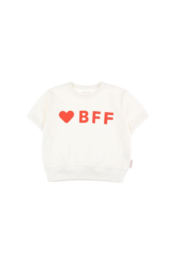 Tinycottons 'bff' short sleeve sweatshirt off-white/red