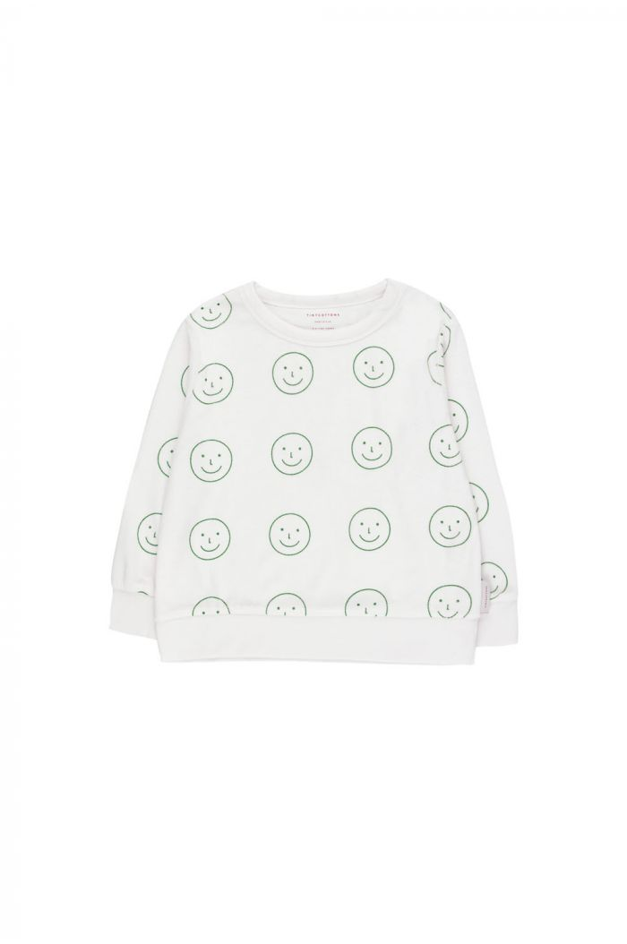 Tinycottons 'happy face' sweatshirt off-white/deep green