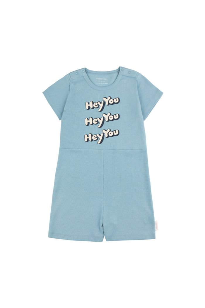 Tinycottons 'hey you' relaxed romper sea grey/cream