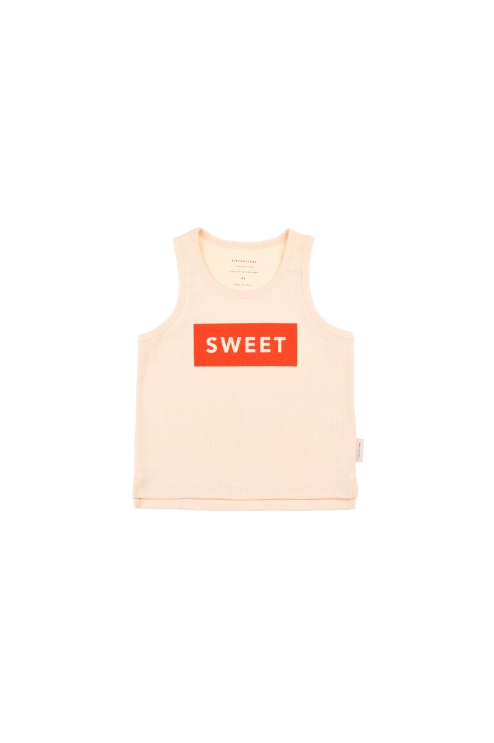 Tinycottons 'sweet' crop tank top cream/red