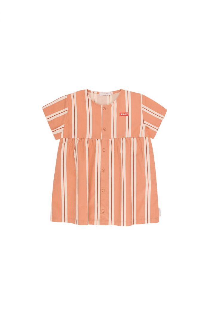 Tinycottons 'retro stripes' short sleeve dress terracotta/cream