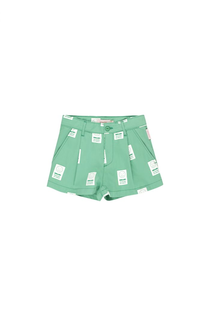 Tinycottons 'smile' pleat short emerald/off-white