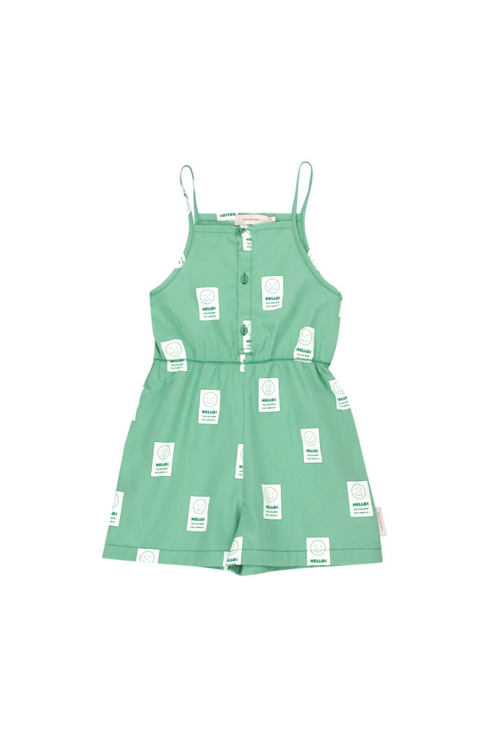 Tinycottons 'smile' sleeveless romper emerald/off-white