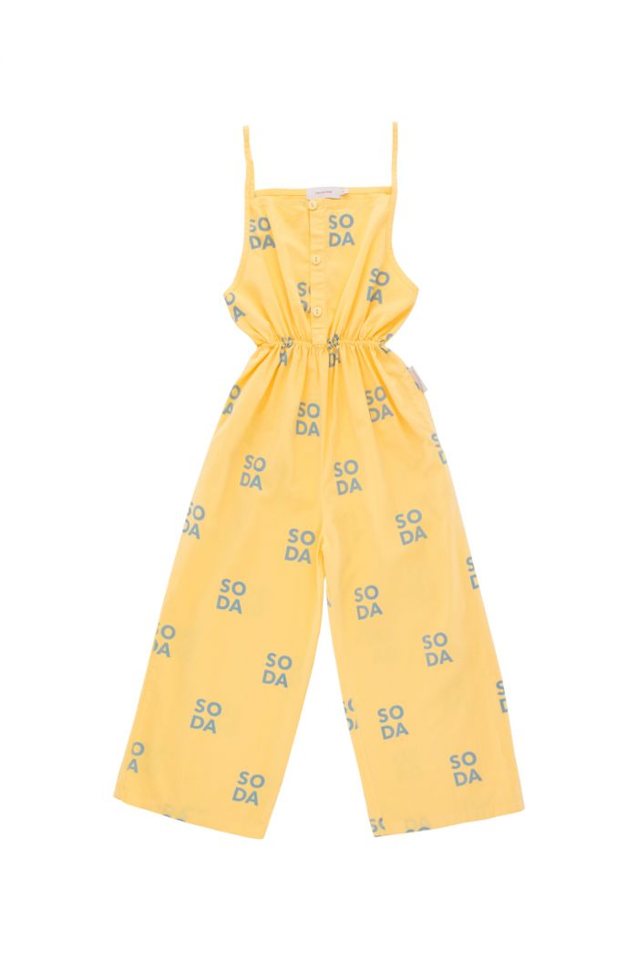 Tinycottons 'soda' braces jumpsuit canary/sea grey