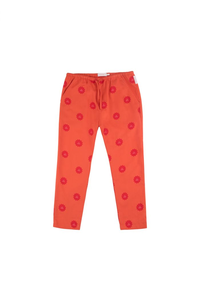 Tinycottons '1st prize badge' cropped pant deep red/red