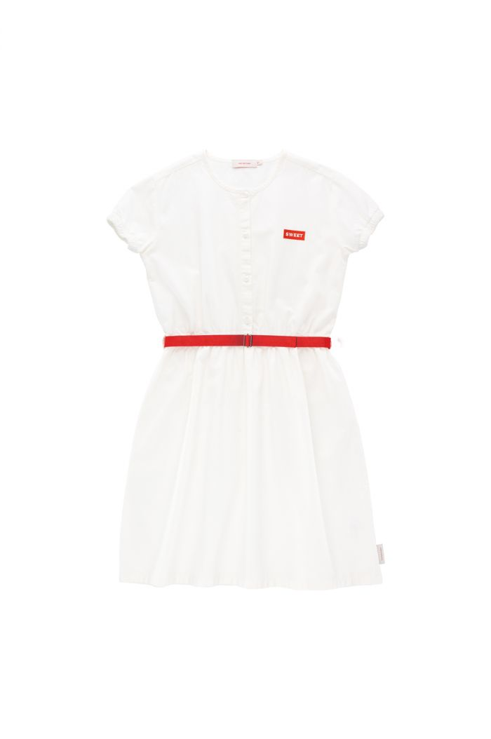 Tinycottons 'sweet' short sleeve dress off-white/red