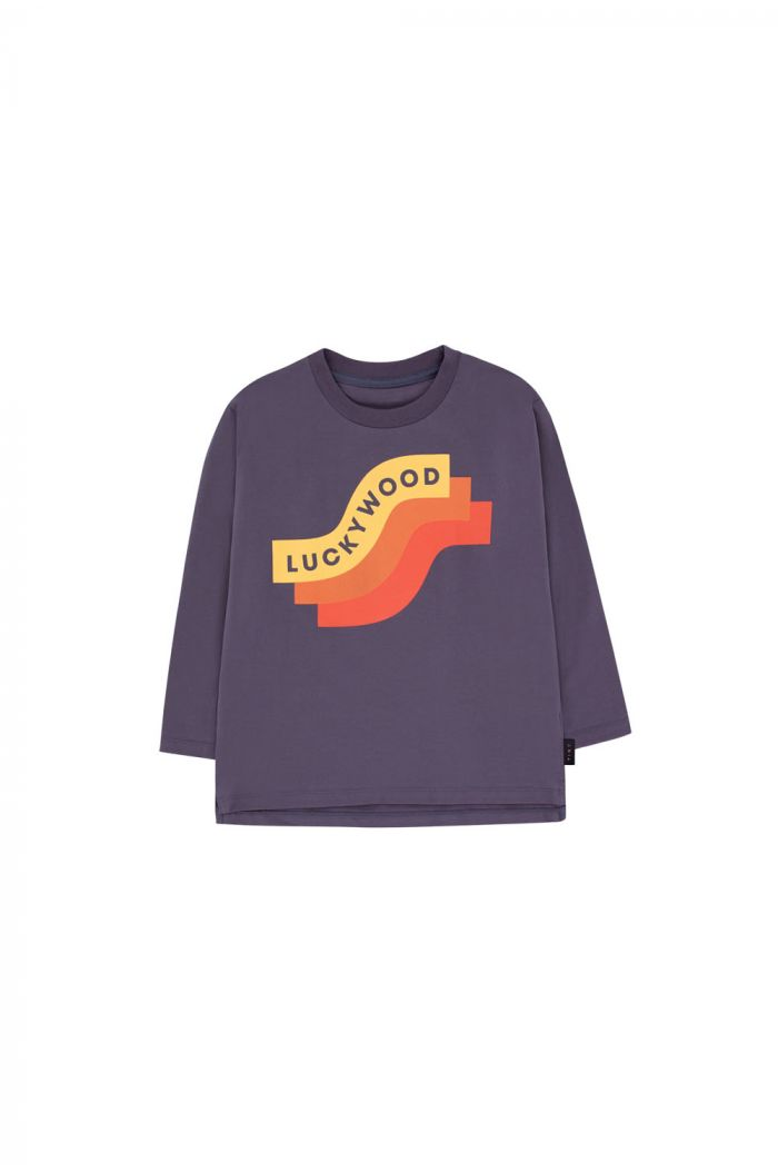 Tinycottons Wave Longsleeve Tee dark lilac/yellow