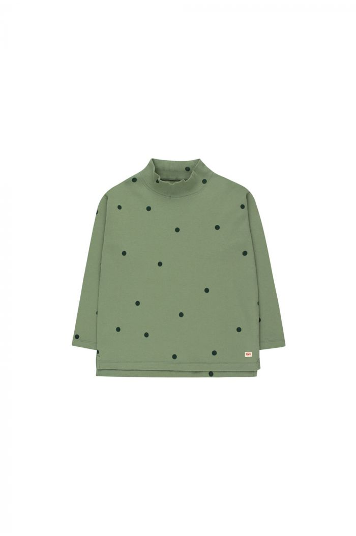 Tinycottons Dots Mockneck Tee green wood/bottle green