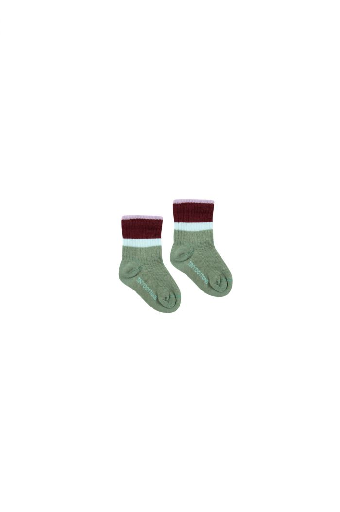 Tinycottons Stripes Medium Rib Socks green wood/aubergine