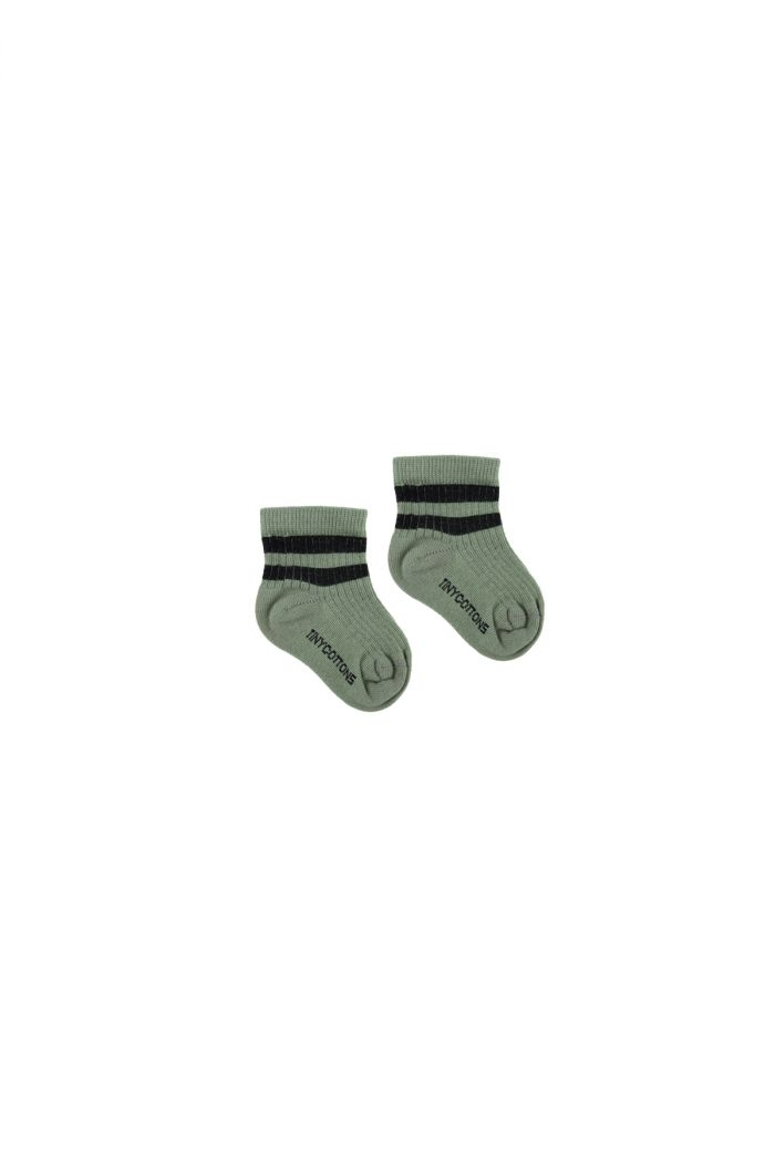 Tinycottons Stripes Quarter Rib Socks green wood/black