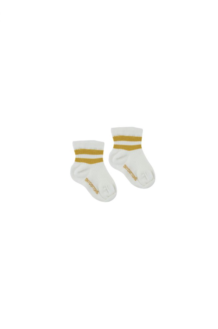 Tinycottons Stripes Quarter Rib Socks off-white/mustard