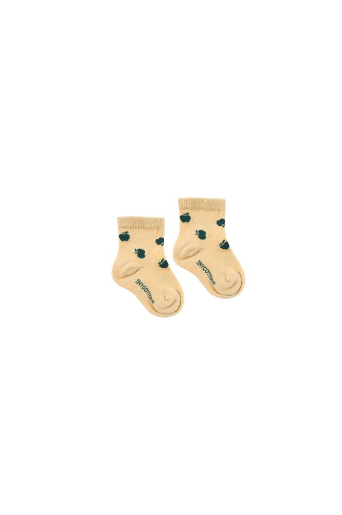Tinycottons Apples Quarter Socks sand/bottle green